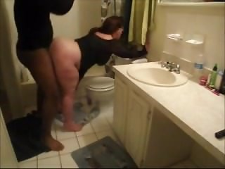 Short MILF with big ass gets fucked by BBC in the bathroom