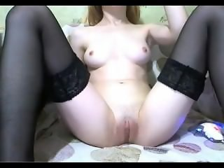 redhead shows shaved pussy