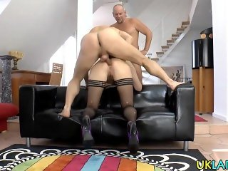 Stockings ho gets jizzed