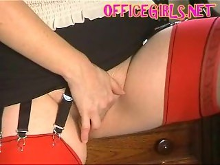 Office slut shows of her nylons and masturbates