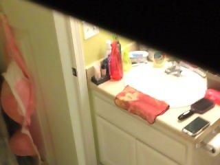secret camera on latina wife in bathroom