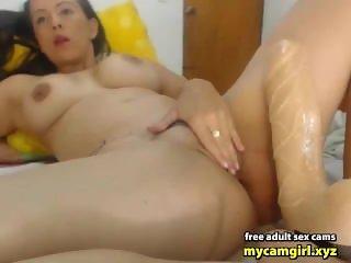 Girl with nice tits masturbates with a xxl dildo