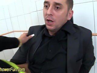 Spunked skank pissing