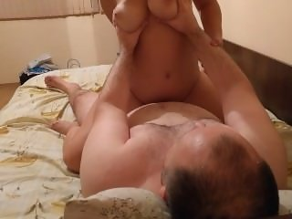 My big tits wife rides me cowgirl, reverse cowgirl and cums before me