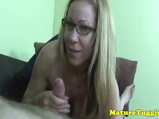 Mature spex milf jerking cock until facialized