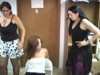 Girl tied and gagged by 2 girls