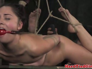 Hair bondage sub tied up and toyed