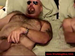 Straight hairy blue collars play with dicks