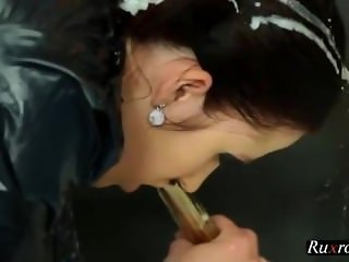 Gloryhole euro gets bukkake while using dildo HD