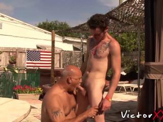 Clark Kent and Jake Edwards enjoying outdoor sex
