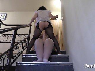 hard anal with a big dildo, lesbian fatties