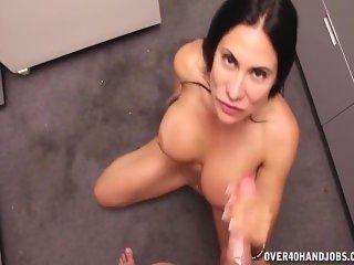 Busty brunette milf handjob