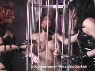 Three mistresses abduct busty Pamela and make her a slave forever