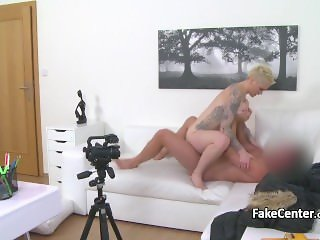 Tattooed blonde bang on interview