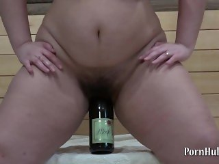 fatty, fucking her hairy pussy bottle!