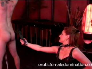 Lusty brunette slut Mistress Gemini has some fun with a horny stud