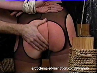 Busty blonde slut gets tied up and spanked really hard