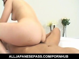 Japanese AV Model grabs dick and devours it in POV