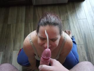 POV Blowjob and Facial Slut Wife Sucking Cock