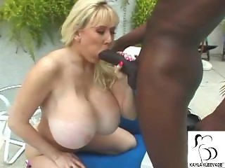 Huge Fake Tit BBC Whore Kayla Kleevage Gets Ass Pounded Outside By Pool