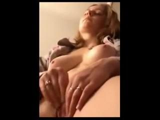 HAIRY BLONDE GIRL CUM TITS AND PUSSY