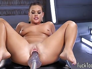 Busty babe toys pussy while fisting her ass