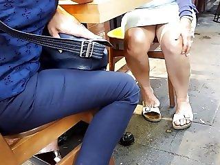 mature legs upskirt, sexy bare feets dangling