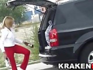 MILF secretary undressing in voyeur outdoor video