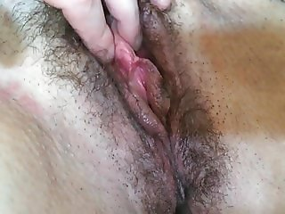 Hairy milf with big tits tied up and played with