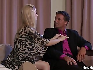 Husband watching his blonde wife riding cock