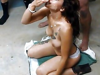 Latina Whore Clara Takes a huge Amateur Bukkake Facial