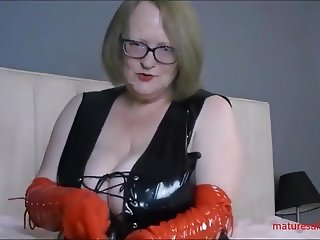 In my black pvc dress and red pvc gloves
