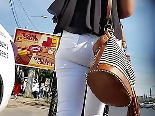 Spy white jeans sexy ass teens girl romanian
