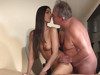 Young Girl and Old Man at the office