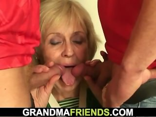 60 years old granny lost bet and gets banged