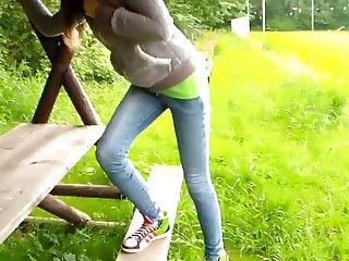 teenager peeing