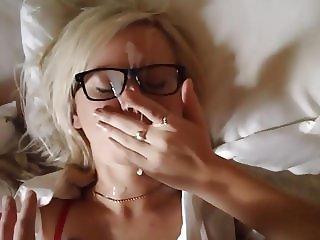HUGE FACIAL! (Blonde blowjob, footjob, fuck&cum on face)