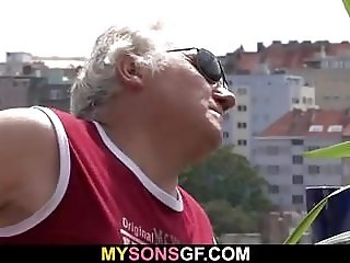 Horny old father fucks son's girlfriend