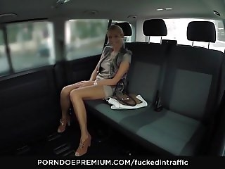 FUCKED IN TRAFFIC - Czech babe gives head in the backseat