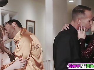 Young sluts riding dicks and tasting warm juice in foursome