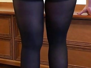 Wife in black pantyhose