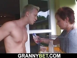 Granny neighbor riding his horny cock