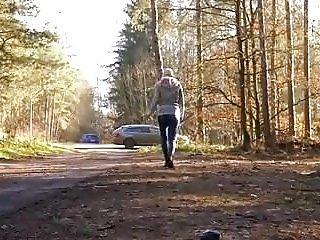 Blonde Milf Pissing outside