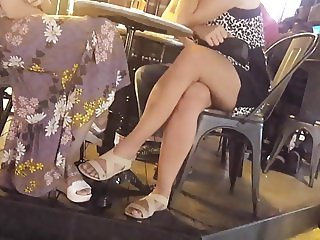 hot girl crossed sexy legs feets
