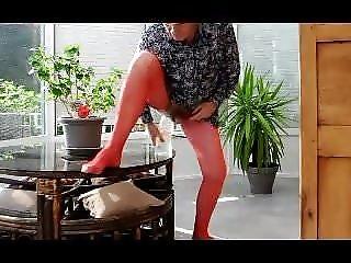straight transvestite big sextoy lingerie pantyhose sissy di