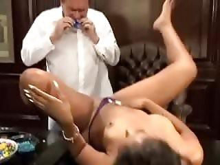 Young lady Yasmine de Leon pleases mature man