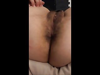 Slut wife showing her hairy pussy