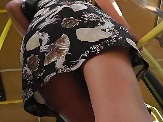 Upskirt Black Thong Getting On Tram