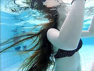 sexy swiss girl  with big tits and long hair pool