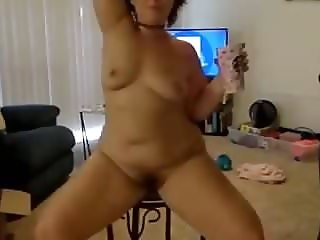 Sexy chubby mom housework